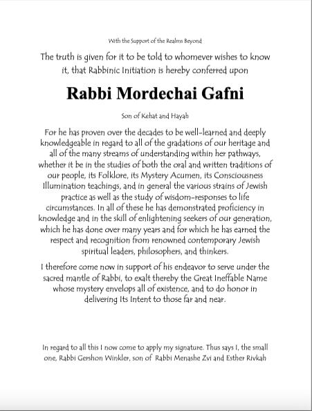 Ordination Rabbi Marc Gafni by Rabbi Gershon Wrinkler English