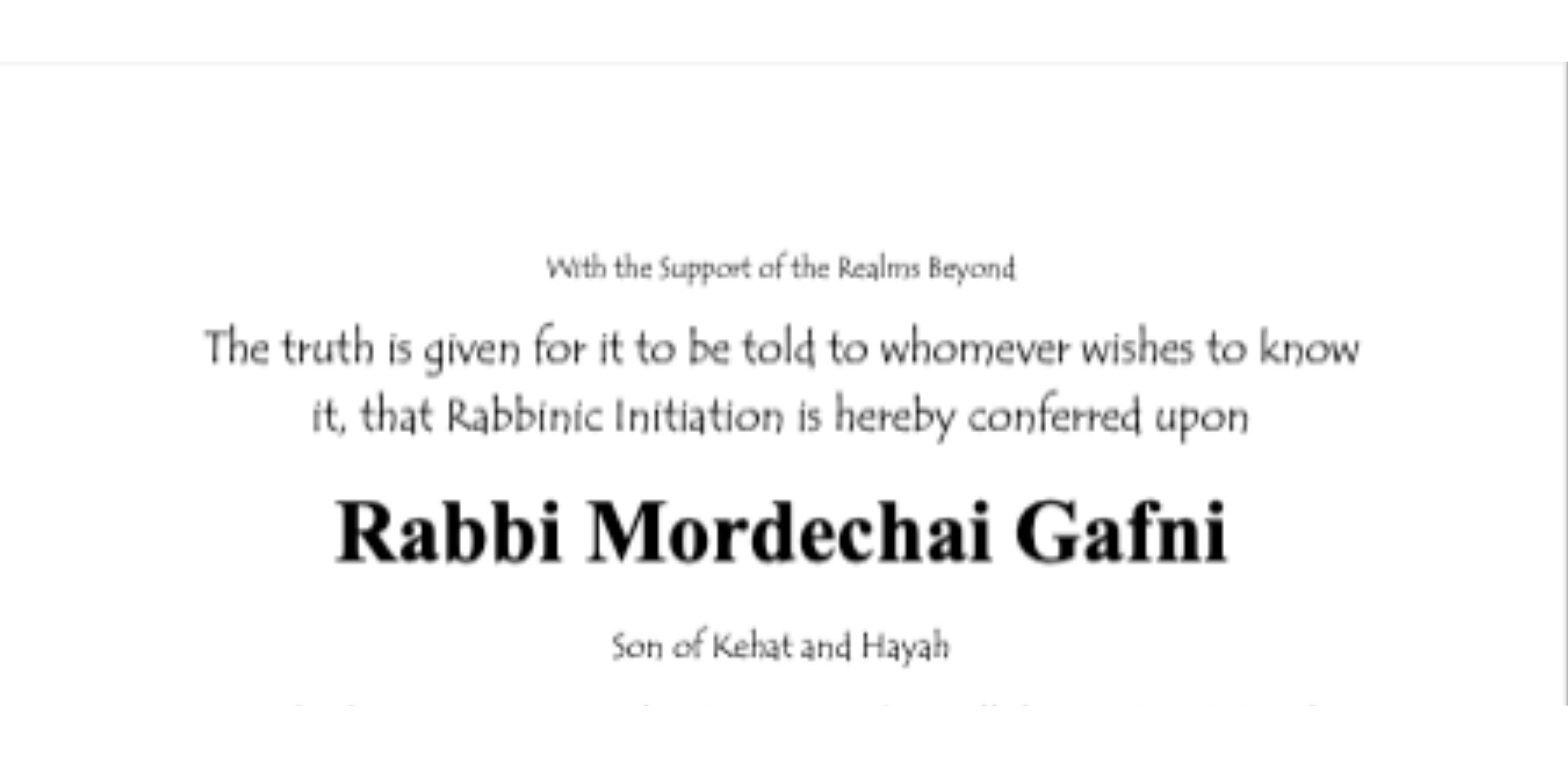 Rabbinic Ordination Rabbi Marc Gafni by Rabbi Gershon Wrinkler